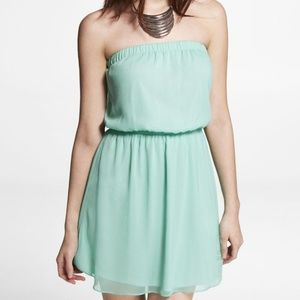 Express Chiffon Mint Strapless Dress
